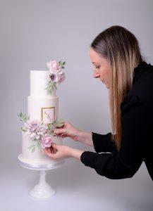 3 tier wedding cake with sugar flowers-huddersfield