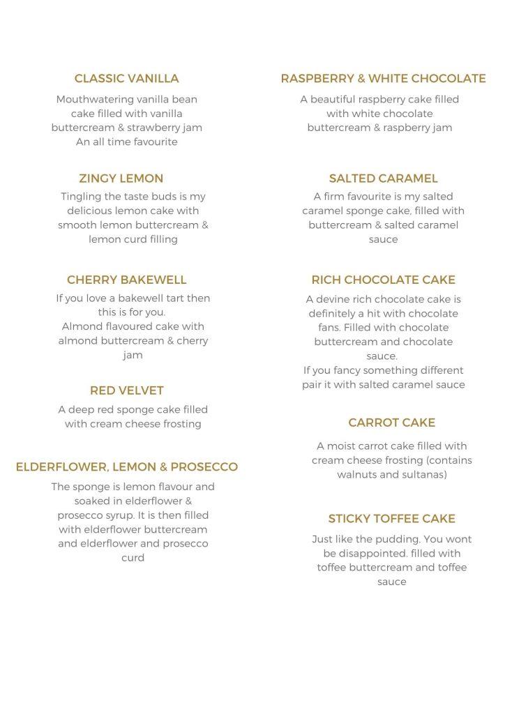 wedding Cake flavours, huddersfield
